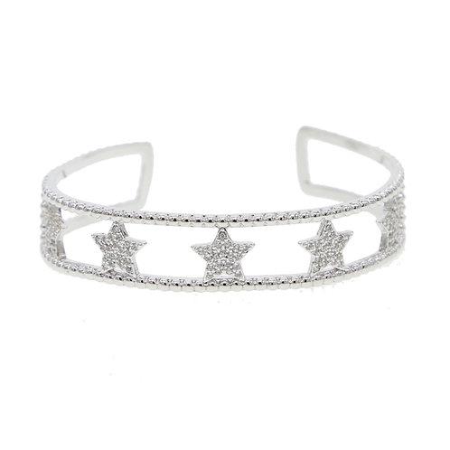 Silver Diamond Star Cuff