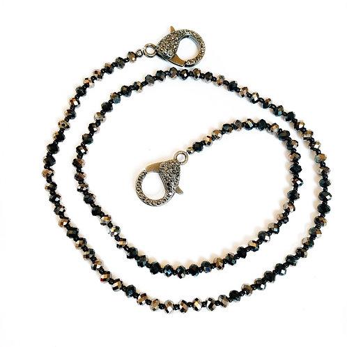 Black & Bronze Crystal Mask Necklace