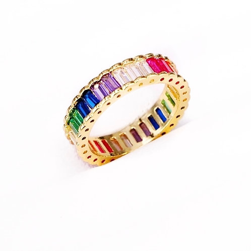 Gold Rainbow Baguette Ring