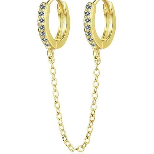 Single Double Huggie Earring
