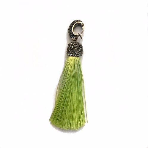 Interchangeable green tassel pendant