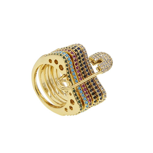 Rainbow Safety Pin Ring