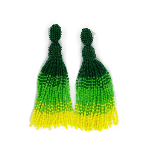 Long bright green beaded tassel earrings