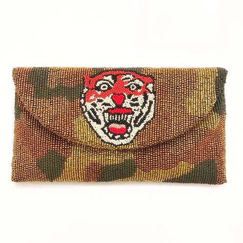 IMPOSSIBLE TO FIND! ONLY 2 LEFT IN STOCK! Beaded Camouflage Clutch with Tiger