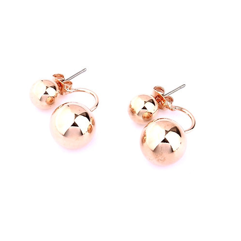 Rose Gold Ball Front Back Earrings