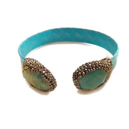 Blue Cuff with Gemstones