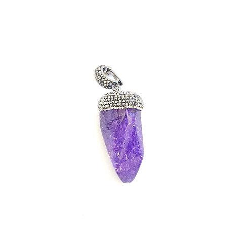 Interchangeable Purple Crackled Quartz Pendant
