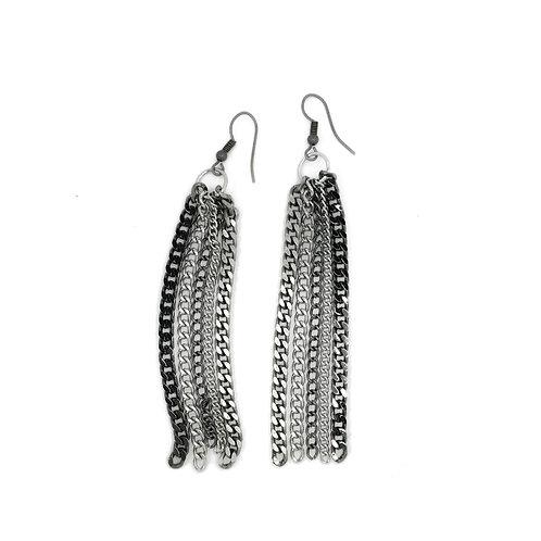 Long multi-chain earrings