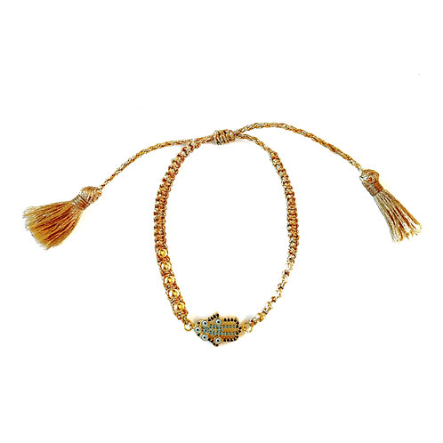 Gold Hamsa Tassel Bracelet