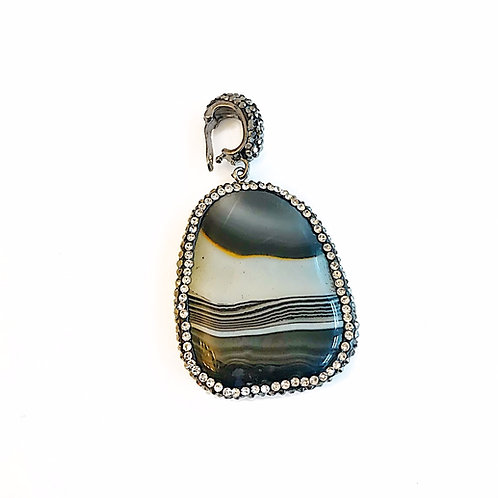 Interchangeable Black & White Striped Pendant