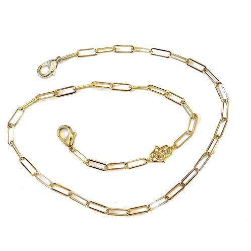 Gold Baguette Hamsa Mask Necklace