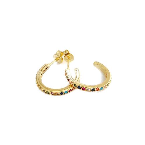 Gold Rainbow CZ Huggie Studs