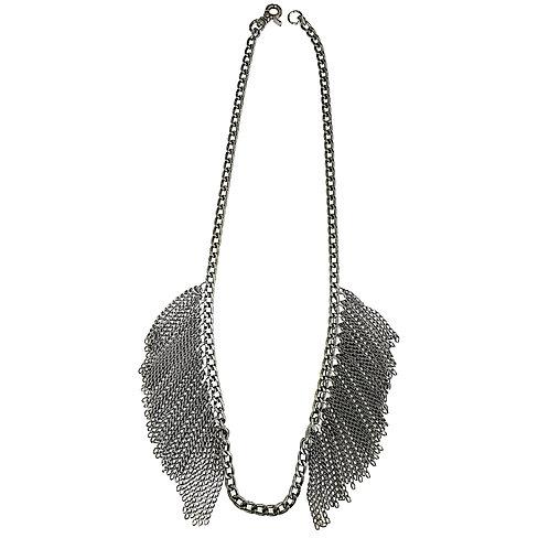 Gunmetal Fringe Necklace