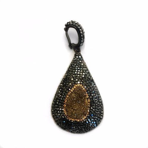 Interchangeable bronze druzy pendant
