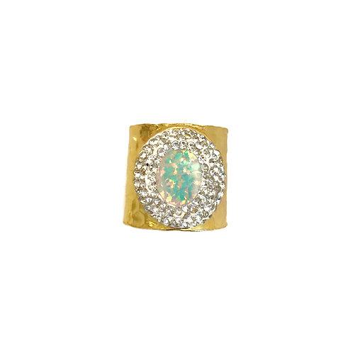 White Opal Cuff Ring