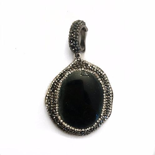 Interchangeable black pave pendant