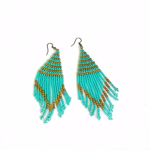 Teal Seed Bead Tassel Earrings
