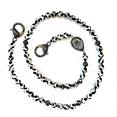 Black and White Mask Necklace