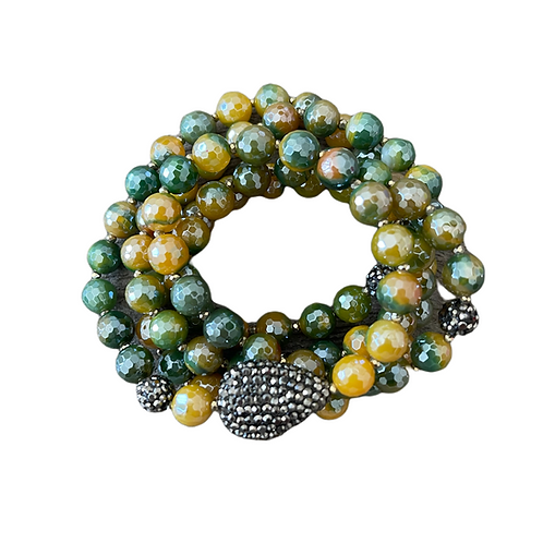 Mystic Coated Green & Yellow Agate Wrap