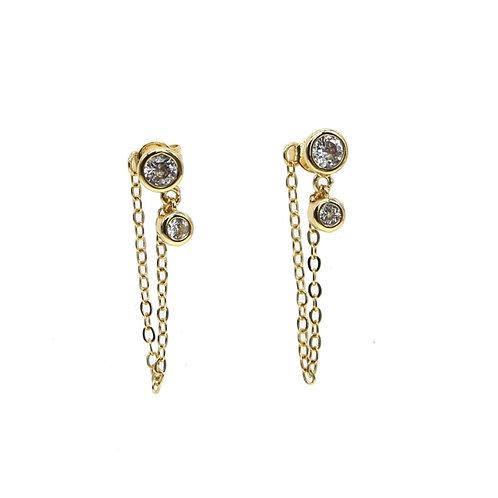 Diamond Detail Chain Earrings