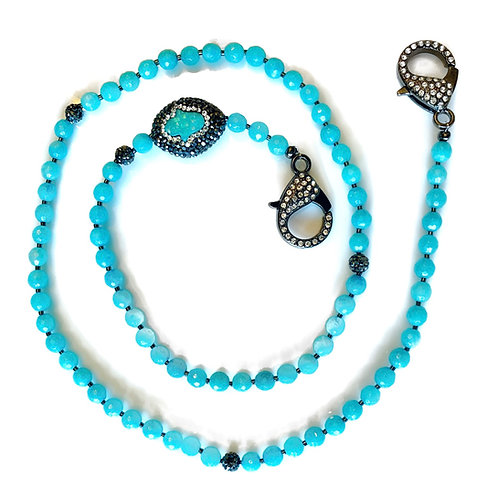 Mystic Coated Turquoise Agate Mask Necklace