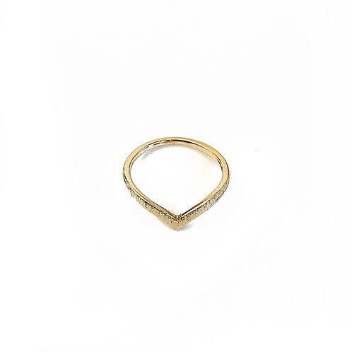 Brushed Gold Chevron Ring