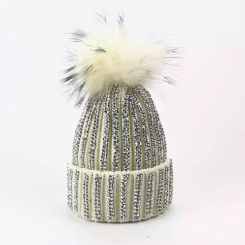 Blinged Out White Hat with Fur Pom