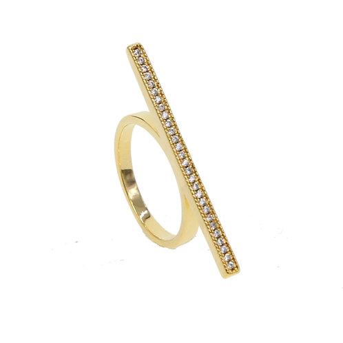 Gold Pave Bar Ring