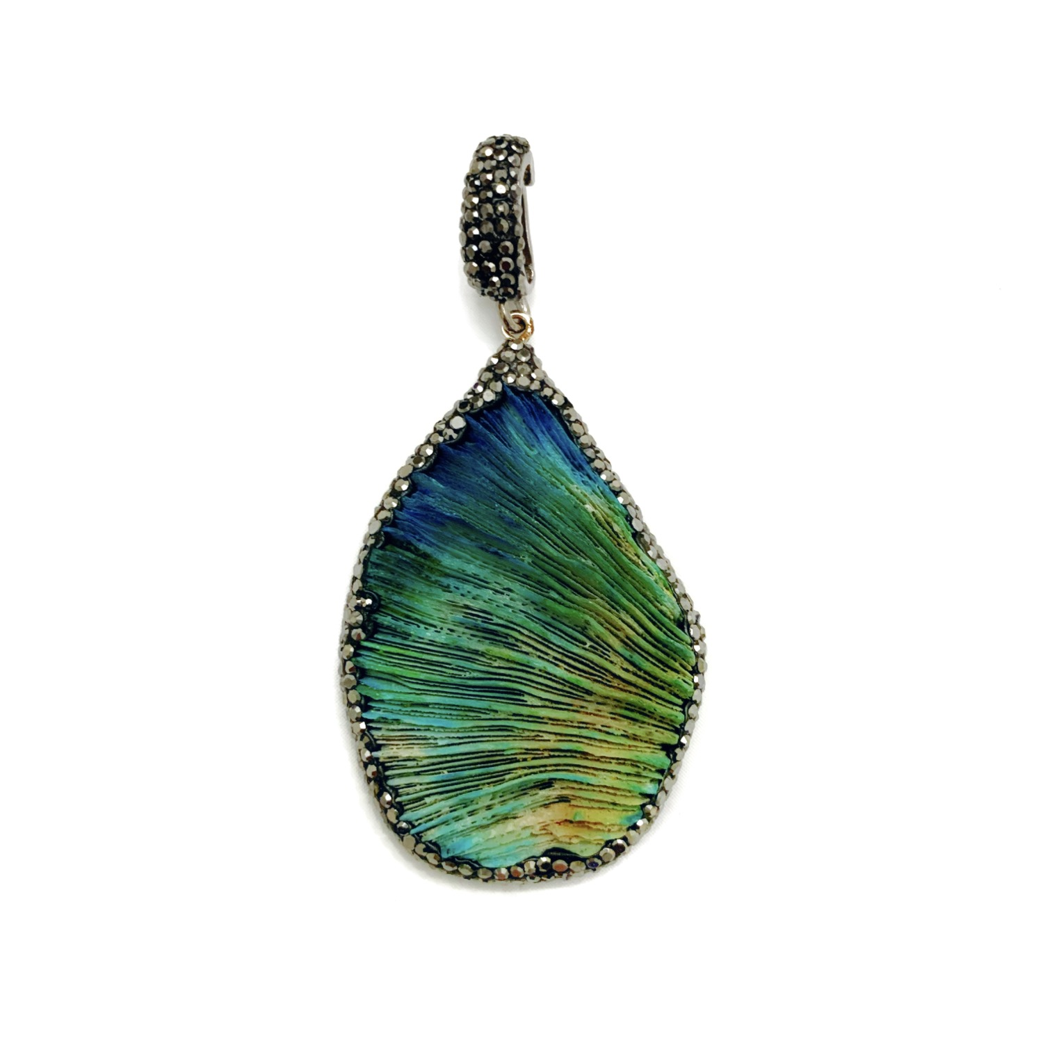 Interchangeable Green Coral Pendant