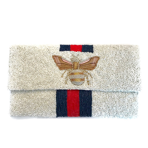 LOWEST PRICE ANYWHERE! AND FREE SHIPPING! White Gucci Inspired Bee Clutch
