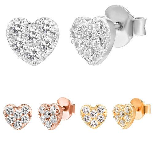 CZ Tiny Heart Stud Earringd