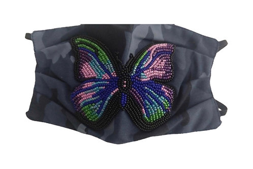Blue Camo Butterfly Mask