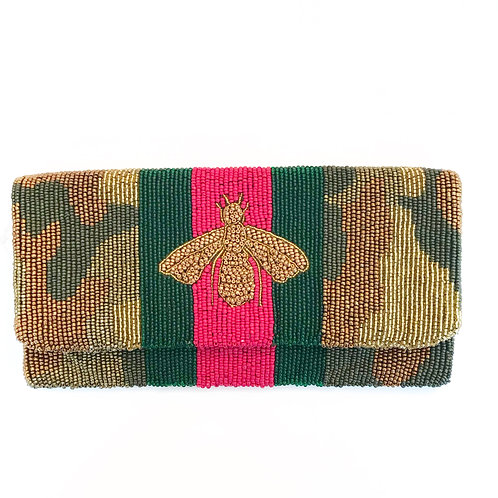 LOWEST PRICE ANYWHERE! AND FREE SHIPPING! Gucci Inspired Camo Bee Clutch