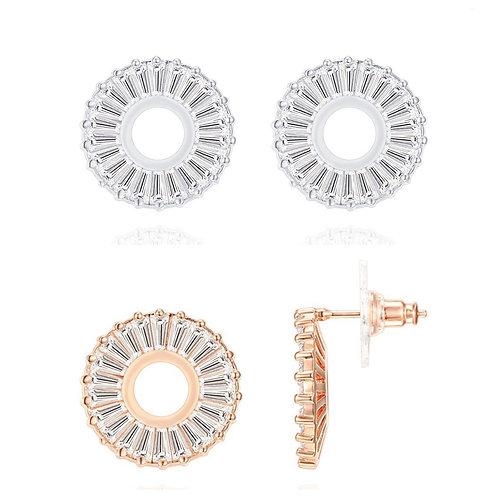 Baguette Disc Earrings