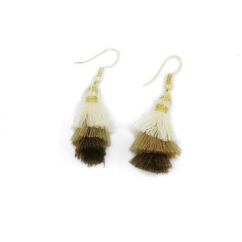 Small neutral triple tassel earrings