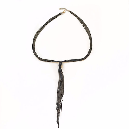 Black Knotted Chain Necklace