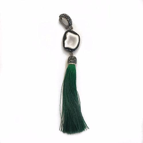 Interchangeable agate green tassel pendant