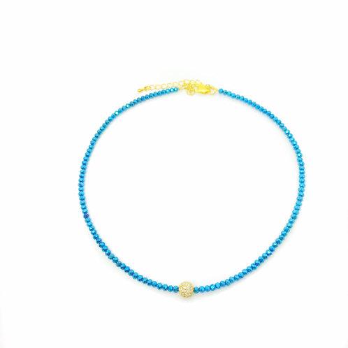 Metallic Blue Crystal Choker