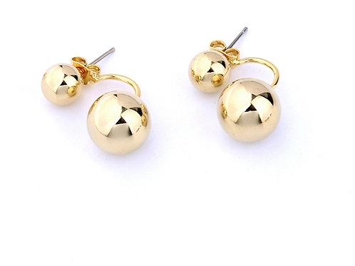 Gold Ball Front Back Earrings