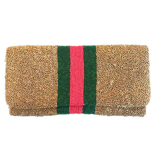 Gold Gucci Inspired Beaded Clutch