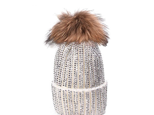 Cream Blinged Out Hat with Fur Pom Pom