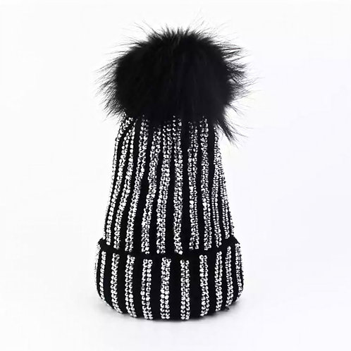 Blinged Out Black Hat with Fur Pom