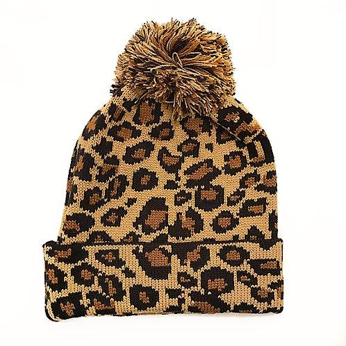 Leopard Print Knit Hat