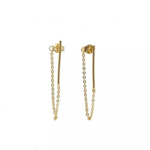 Gold Bar & Chain Earrings