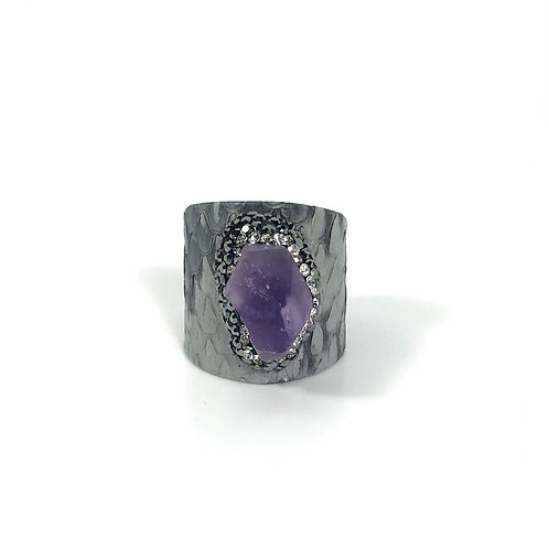 Adjustable grey python ring with encrusted amethyst