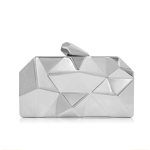 Geometric Silver Clutch