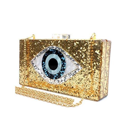 Gold Evil Eye Clutch