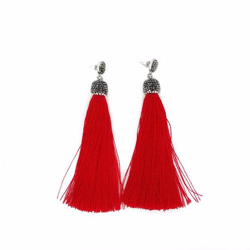 Long red encrusted tassel earrings