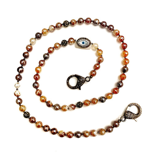 Mystic Tortoise Shell Agate Mask Necklace