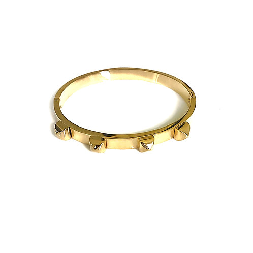 Stainless Steel Gold Studded Cuff